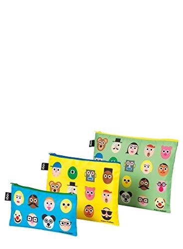LOQI STEPHEN CHEETHAM Faces Zip Pockets - Zip-Etuis Pocket-zip-design