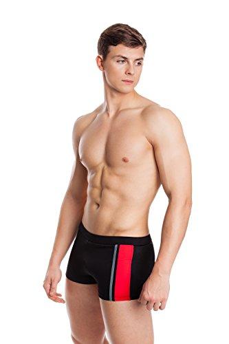 AQUA-SPEED® Herren Badehose | Schwimmhose | S-XXXL | Modern | Perfect Fit | UV-Schutz | Chlor resistent | Kordelzug 08. / 13 / black red gray