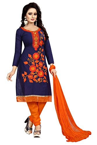 Alazra Creation Women's Unstitched Salwar Suit Dress Materials(Whale-Navy Blue & Orange)