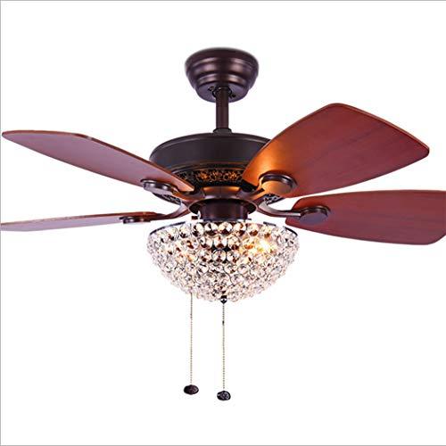 Downrods 4 (LeiLight moderner Deckenventilator36 Zoll Kristall-Deckenventilator-Licht mit 4 umgekehrten hölzernen Blättern und Zug-Ketten-Dekoration für Hauptesszimmer Wohnzimmer-Küche)