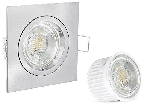 linovum LED Einbaustrahler flach (36mm) eckig Edelstahl Optik gebürstet 230V Einbauleuchte Deckenspot mit 5W LED Modul Keramik & Glas warmweiß 2700K