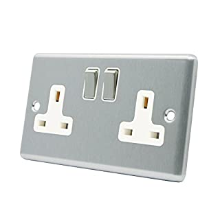 Wall Socket 2 Gang - Satin Matt Chrome Square - White Insert - Metal Rocker Switch - 13A Double Plug Socket