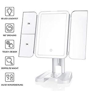 Kosmetikspiegel mit Licht - 3 Beleuchtet Modi, 68 LEDs Berühren Steuerung Design Schminkspiegel - Tragbarer Spiegel mit Beleuchtung mit 2X / 3X Vergrößerung