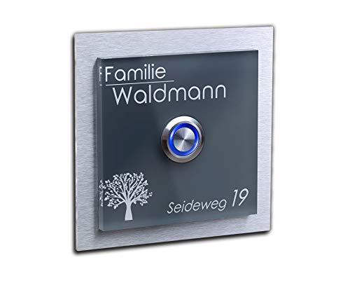 Türklingel mit Namen Gravur freier Motivauswahl frei gestaltbar und LED Klingel-Knopf Schild Haustür-Klingel mit Namen beschriftet 10x10
