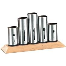 Esmeyer 610-217 Besteckhalter PIPES mit 5 Halterungen  aus Edelstahl 18/8 und Gummibaumholz  für bis zu 60 Besteckteile.