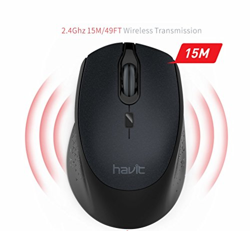 Funkmaus HAVIT 2.4G 2000 DPI 4 Tasten Kabellose Maus, 36 Monate Batterielaufzeit Optische Maus für PC / Tablet / Laptop/ Macbook/ Microsoft Pro, (Schwarz)