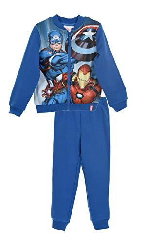 Marver avengers - tuta felpata coordinato sportivo set 2pz felpa e pantalone full print - bambina - novità prodotto originale 1901hr [blu - 10 anni - 140 cm]