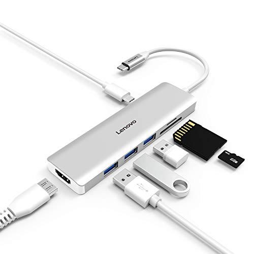 Lenovo USB C Hub, 7 in 1 Type C Adapter USB C Ladeanschluss, 4K HDMI, SD/TF Kartenleser, 3 USB 3.0 Anschlüsse für 2016 2017 MacBook Pro Google Pixel und Anderen USB C Geräte - Daten-karte, Drucker Zubehör