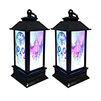 Amosfun 2pcs Hanging Lantern Decorations Halloween Skull Light LED Light Lamp for Party Home Bar