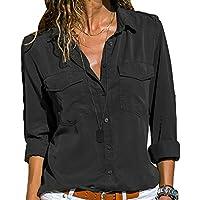 Frauen-Beiläufige V-Ausschnitt-Rollen-Lange Hülsen-Normallack-Revershemd-Bluse Übersteigt S-5XL