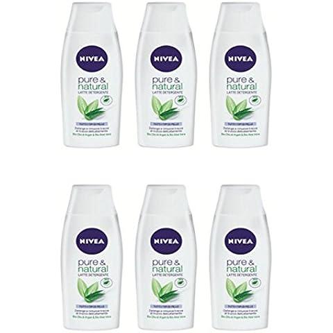 6 Pezzi NIVEA VISAGE Latte Detergente Pure & Natural rimuove impurità e trucco