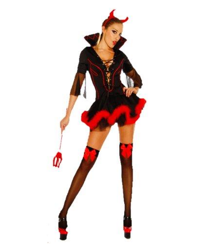 s-Kostüm Teufel Outfit Damen schwarz-rot S-M Verkleidung sexy Kleid, Haarreif mit Hörnern, Dreizack (Teufel Kostüm Kleid Schwarz)