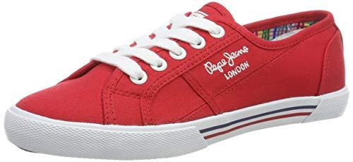 Pepe Jeans London Damen ABERLADY Basic 17 Sneaker, Rot (245redwood 245), 38 EU