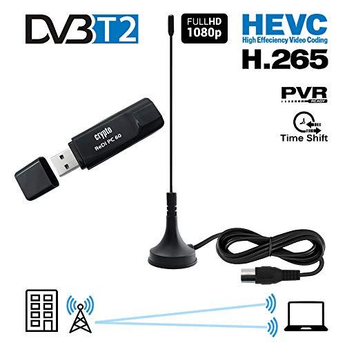 Crypto ReDi PC 60 USB DVB-T/T2/C TV Tuner Digitaler HD Empfänger für PC und Notebook mit Antenne (HEVC H.265 Decoder, HDTV, USB 2.0, WINTV, kompatibel mit Windows 7 / Vista / XP / Win8 / Win10) Schwarz .