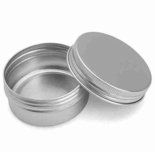 SODIAL Bocal metallique Bocaux en metal plat en acier argente Contenants de bidon ronds vides glisses massifs avec couvercle superieur de serrage etanche a vis de torsion scellee, 60 ml 5 pcs
