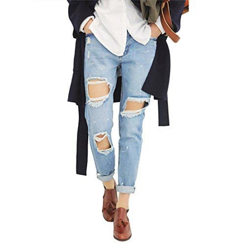 Bellezza Donna Straight Jeans Strappati Boyfriend Hole Pantaloni in Denim