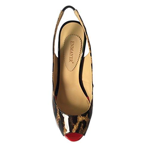ENMAYER Femmes Fashion Sandale Cuirs Peep Tour Toe Stiletto Super Talons de Chaussures Plate Forme Datant de Sandales Sexy de Boîte de Nuit Léopard
