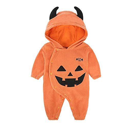 LHHJ Herbst und Winter Halloween Kinder Kleidung Kürbis Baumwolle personalisierte Baby Onesies Orange 100
