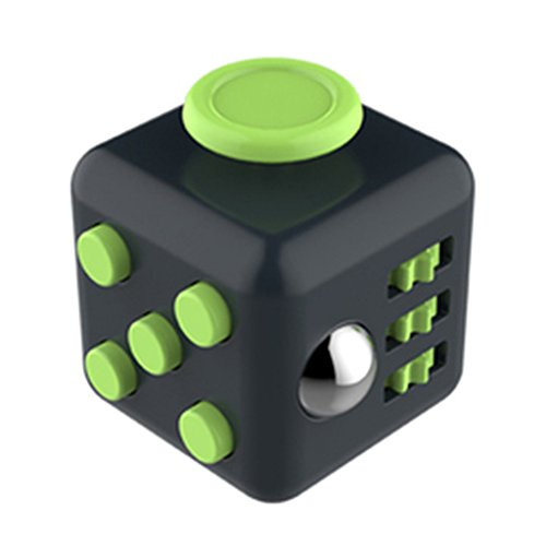 HMILYDYK 6-Sides Fidget Cube Relieves Stress and Anxiety Attention Toy for Children and Adults(Black and Green)