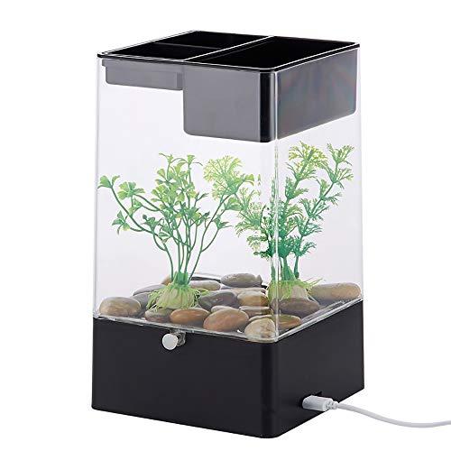 treinigendes Wasser faul Mini kleine Acryl Schreibtischoberfläche transparent Aquarium-Black ()