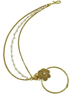 Matra Goldtone CZ Stein Ethnische indische Frauen Nath Non Pierce Nasen Ring Hochzeit Schmuck