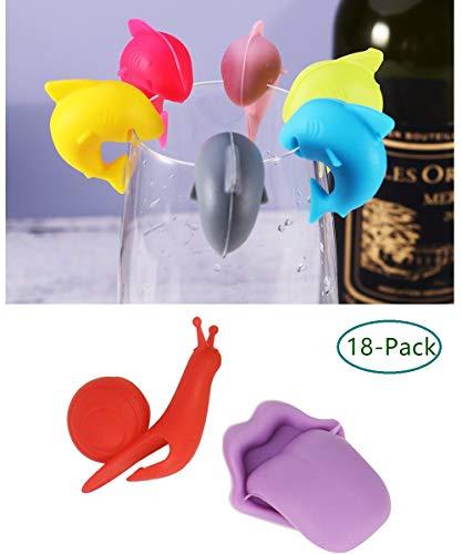 Glasmarker, Wiederverwendbare Glasmarkierer aus Silikon, 18 Stück Set, Markierungen für Party Weinglas