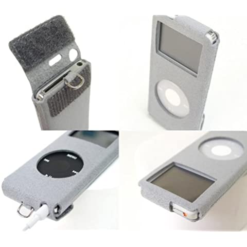 BIRD POCO GN, Alcantara-Etui per iPod nano 1 g 2 g/&, colore: argento