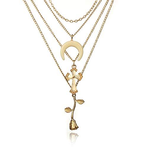 SonMo Vergoldet Damen Halskette Anhänger Mehrfachschichten mit Stern Und Teardrop Anhänger Halsband Halskette Mehrreihig Kette Choker Gold Länge 52CM -