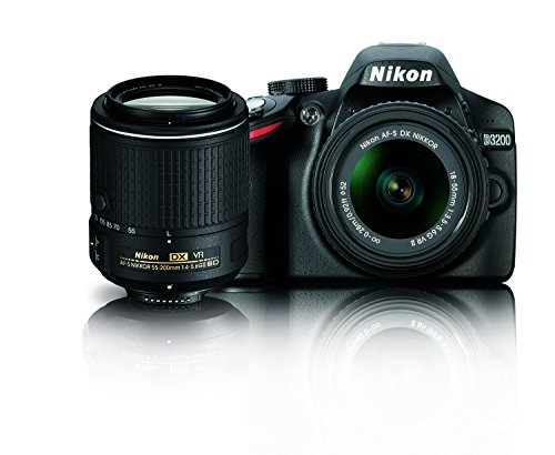 Nikon D3200 24.2 MP CMOS Digital SLR Camera with 18-55mm and 55-200mm VR DX Zoom Lenses Bundle  available at amazon for Rs.83912