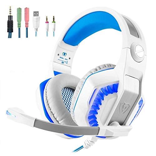 STOGA Auriculares para Juegos, Beexcellent PS4 Auriculares Gaming GM2 para Colocar Sobre la Oreja Aislamiento de Ruido, respiración de luz LED con micrófono para PC Gamers (Azul y Blanco)