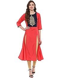 Ziyaa Women's Peach Colour Foil Ethnic Print Aline Crepe Festive Wear Kurta (ZIKUCR1958)