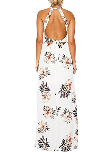 Frauen Boho Cut Out Taille Seite High Split Ruffle Blume Print Halter Neck Blumengurt Maxi Long Kleid Weiß S Jasmin-weiß