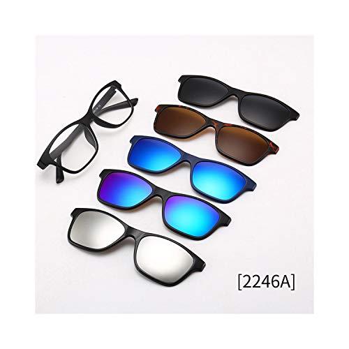FGRYGF-eyewear2 Sport-Sonnenbrillen, Vintage Sonnenbrillen, TR90 Sunglasses Magnet Clear Lens With 5 Polarized Lenses Unisex For Männer WoMänner Clip On Myopic Sun Glasses Magnetic Mirror 2246