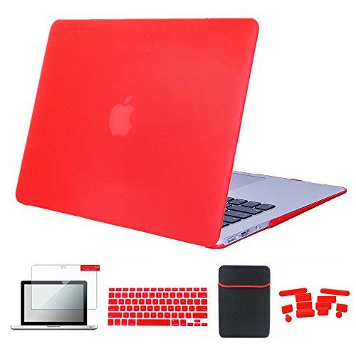 Se7enline Matte Frosted Plastic Hard Case für Mac Pro 15-Zoll-Modell A1398 mit Retina-Display, Tastaturabdeckung, Displayschutzfolie, Staubstecker, Rot - Frosted Dots