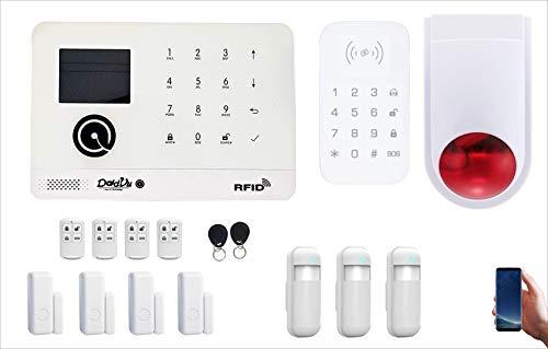 Kit allarme Casa, Wireless senza fili, WiFi 2.4 Ghz, Combinatore telefonico GSM, 100 zone di allarme, App Gratuita, Dadvu DV-P1