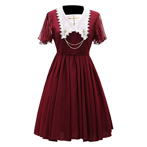 Partiss Womens suesse elegante Chiffon Lolita Kleid Cosplay Kostueme,S,Winered