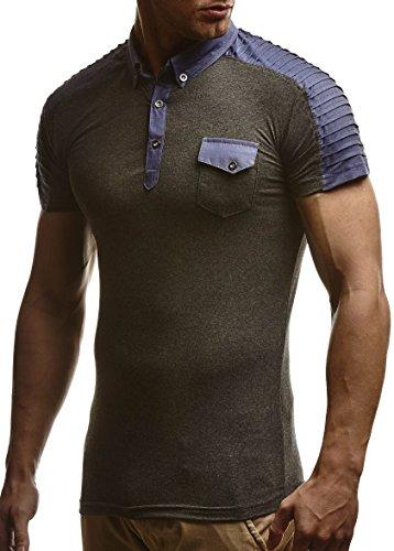 LEIF NELSON Herren Sommer T-Shirt Polo Kragen Slim Fit Baumwolle-Anteil   Basic schwarzes Männer Poloshirts Longsleeve-Sweatshirt Kurzarm   Weißes Kurzarmshirts lang   LN475 Anthrazit Small -