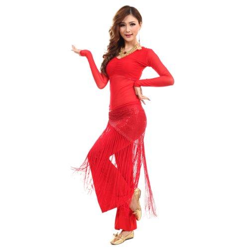 H: oter Langarmshirt Belly Dancing Top und Hose , mit Quaste Bling Hip Schals, Preis / Set - (Tanz Kostüme Top Wettbewerbs 100)
