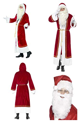 Fancy Dress World - Adult Deluxe Santa Father Christmas Fancy Dress Cloak with Belt - FREE Santa Beard - Santa's Grotto Panto Party Fun 655 (UK Medium-Large 48150)
