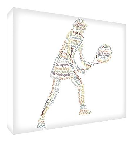 Feel Good Art Galerie enveloppé Boîte Toile Motif typographie joueur de tennis en (40x 30x 4cm, Taille Moyenne, tons neutres)