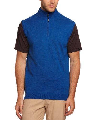Calvin klein golf pull merino collo con zip per uomo, uomo, blu lucido, xxl