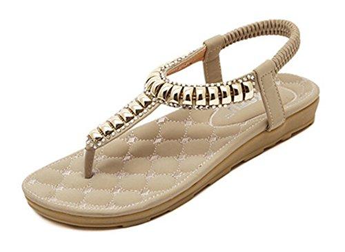 Fortuning's JDS Nouvelles spartiates avec ornements métalliques chaussures plates pour les femmes abricot