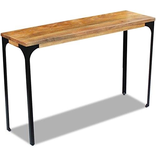 Festnight Konsolentisch Mangoholz und Stahlrahmen als Beistelltisch Sideboard Highboard 120x35x76cm für Flur Wohnzimmer Schlafzimmer