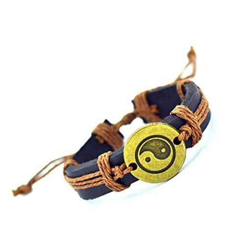 Truteraa - 2019 hochwertige Vintage-Leder-Armband der neuen heißen Frauen handgemachtes Twine Armband Echt Leder Armband für Frauen-Mann-Schmucksachen [7]