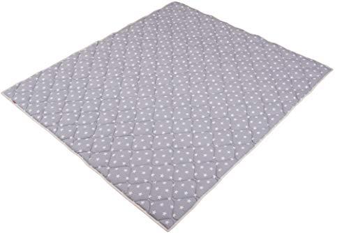 *IDEENREICH Baby Krabbeldecke Krabbeltraum| Sterne grau| RUTSCHFEST | 130x150cm | ideal als Spieldecke, Krabbeldecke und Laufgittereinlage*