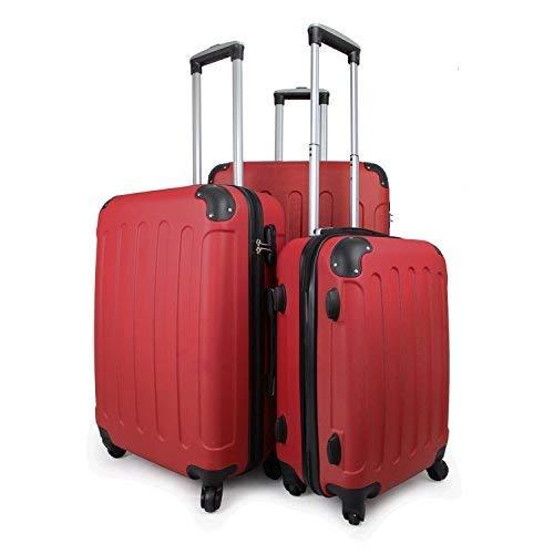 Leogreen - Set de Valises, Lot de Valises à Roulettes, Coins protégés, 51 61 71 cm, Rouge, ABS, Matériau: Plastique ABS, Poids: 3 kg (petit) 3,5 kg (moyen) 4,5 kg (large)