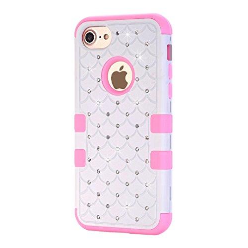 """iPhone 7 Hülle,Lantier Eleganter Luxus verzierte Bling Strass Design 3 Stück Art Dual Layer Hybrid Stoß harten Autoschutzhülle für iPhone 7 4.7"""" 2016 Schwarz+Pink Cute Rhinestone White+Pink"""