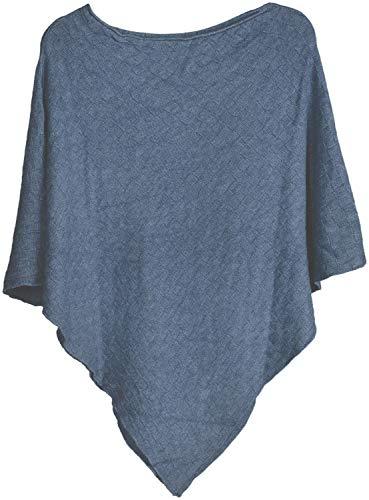 styleBREAKER Damen Feinstrick Poncho mit Karo Schachbrett Struktur, Rundhals 08010053, Farbe:Blau