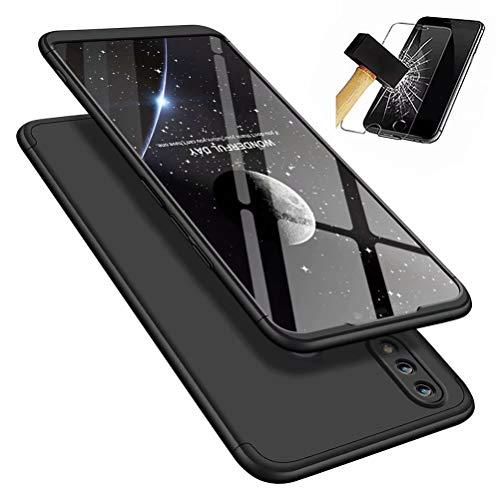 MISSDU kompatibel mit Premium Hart PC 360 Grad Hülle Huawei Honor 8X Hülle + Panzerglas,3 in1 Handytasche Handyhülle Schutzhülle Cover - Schwarz - 5 8 Split-ring