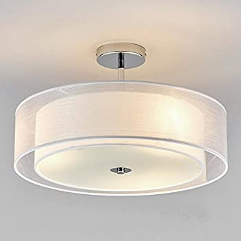 Round semi flush ceiling light white fabric lamp chandelier for round semi flush ceiling light white fabric lamp chandelier for living room foyer hall study room aloadofball Image collections